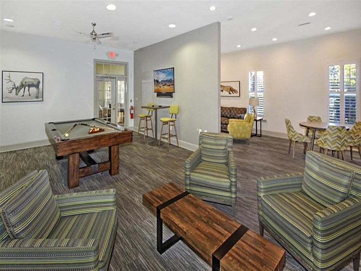 Social Clubroom with Entertaining Space and Billiards Lounge at Alden Place at South Square Apartments,Durham, NC 27707