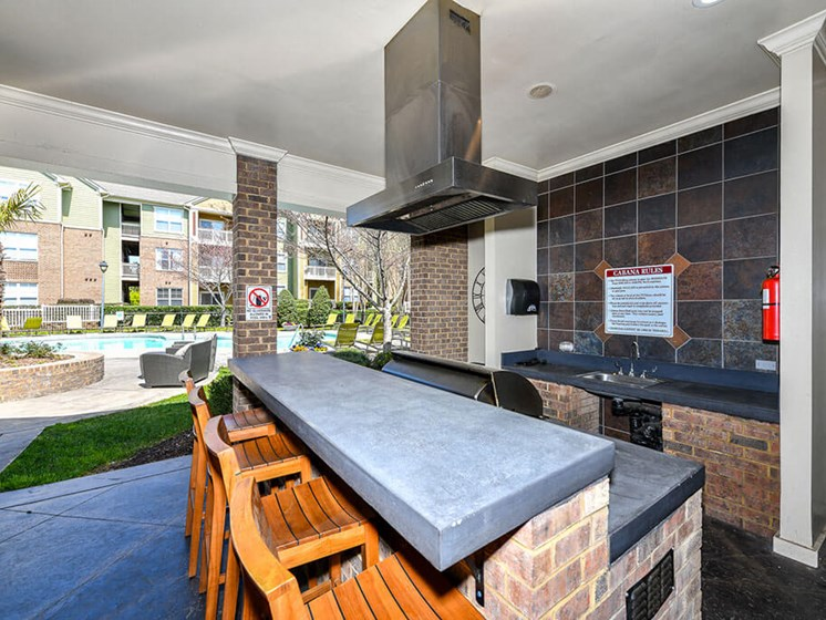 Outdoor Entertainment Space with Gas Grill and Bar Height Seating and Amble Counterspace at Alden Place at South Square Apartments,Durham, NC 27707