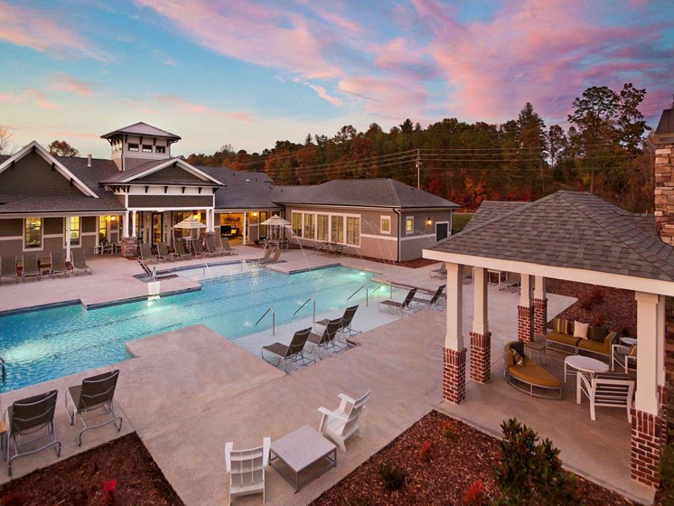 Resort Style Pool with Tanning Ledge & Salt Water Loungers at Ansley at Roberts Lake Apartment Homes, Arden, NC, 28704
