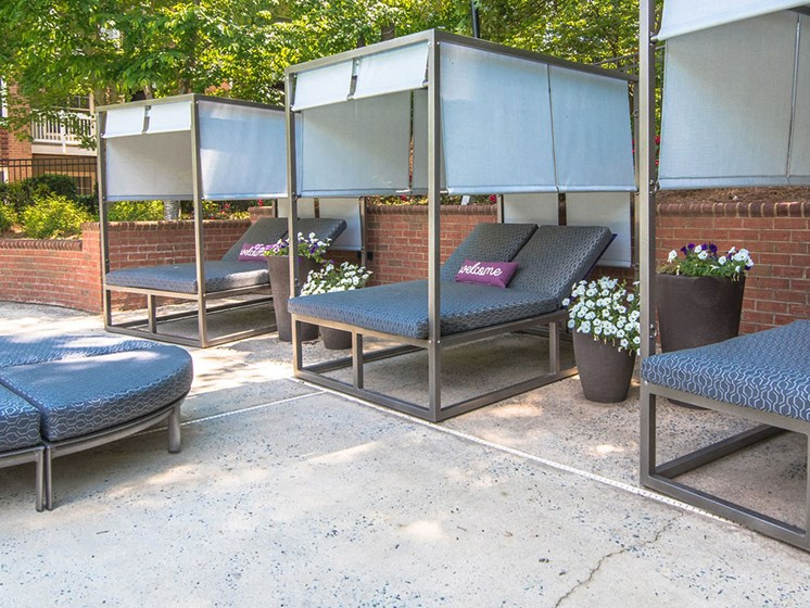 Relaxing Lounge Cabanas by the Refreshing Swimming Pool at Autumn Park Apartments, Charlotte, NC 28262