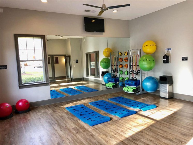 Health and Fitness Club including Yoga Studio with Mats, Exercise Balls, TV and more at Autumn Park Apartments, Charlotte, NC 28262