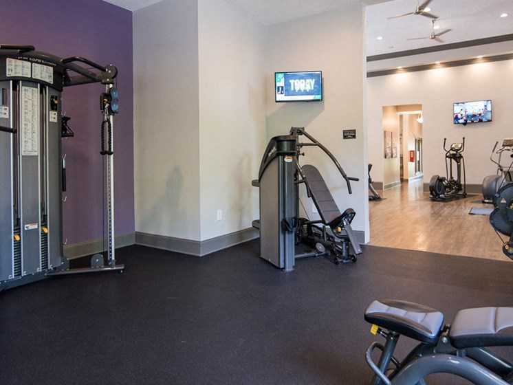 Health and Fitness Club including TVs and Cardio and Weight Training at Autumn Park Apartments, Charlotte, NC 28262