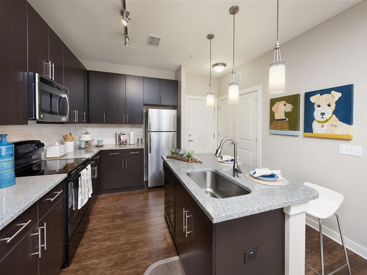 Modern Kitchen with Dark Accent Cabinetry and Granite Countertops at Bleecker Hyde Park, Tampa, FL, 33606