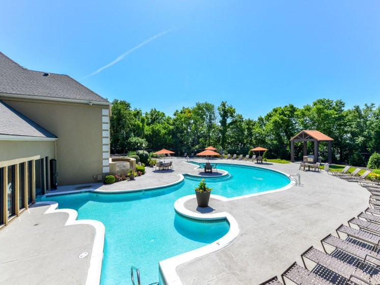 Refreshing Swimming Pool with Relaxing Poolside Lounge Chairs at Hampton Woods, Kansas, 66217