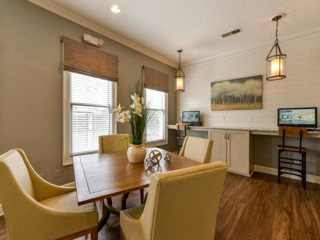 Business Center with Printer and Scanner Expertly Decorate with Wood Accents and Modern Desk Chairs at Legacy Farm Apartments, Collierville, TN 38017