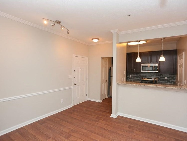 Large Open Living Rooms with Wood-burning Gas Fireplaces and Mantels, Crown Moulding and Built-in Bookcases at Park Summit Apartments, Decatur, GA 30033