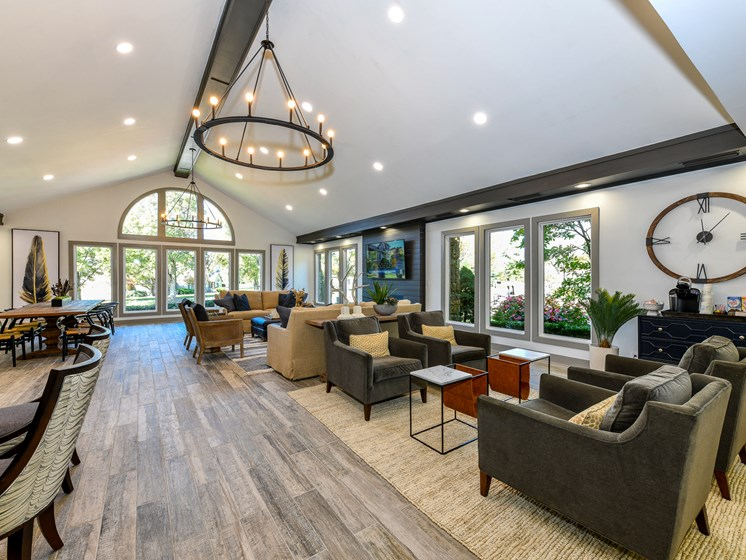 Stunning Modern Design Community Clubhouse with Ample Space and Amenities at Pointe Royal Townhome Apartments, Overland Park, KS 66213