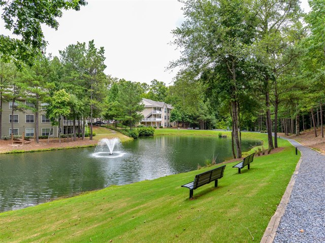 Beautiful Landscape With Lovely Wooded Views And Duck Pond at St. Andrews Apartment Homes, Georgia