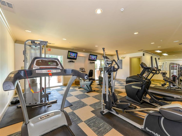 Athletic Club with Cardio and Free Weight Areas at Sugarloaf Crossing Apartments, Lawrenceville, GA 30046