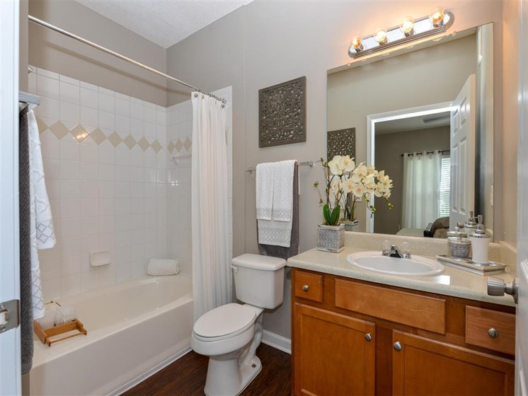 Spacious Bathroom with Relaxing Garden Tub at Sugarloaf Crossing Apartments, Lawrenceville, GA 30046