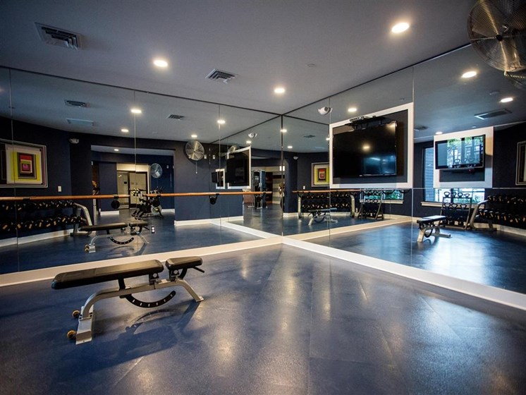 Fully-Equipped Fitness Studio at The Dartmouth North Hills Apartments, Raleigh, North Carolina