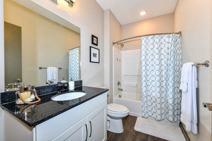 Relax after a long day in your bathroom with garden tub with curved shower curtain rod, granite countertops and wood plank style flooring at The Tennessee Brewery, Memphis, TN 38103