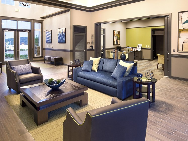 Clubhouse with TV, Fireplace, and Kitchen at Grand Oak at Town Park, Smyrna, TN 37167