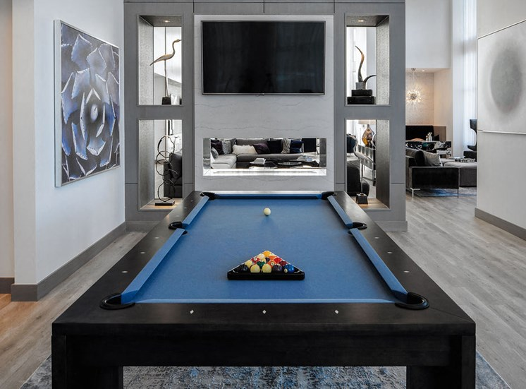 close view of pool table