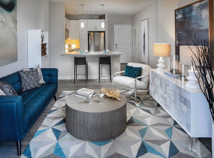 furnished model living area