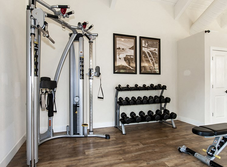 Fitness center with weight machine, weight rack/bench, wood floors and white walls with two vintage Santa Cruz travel posters