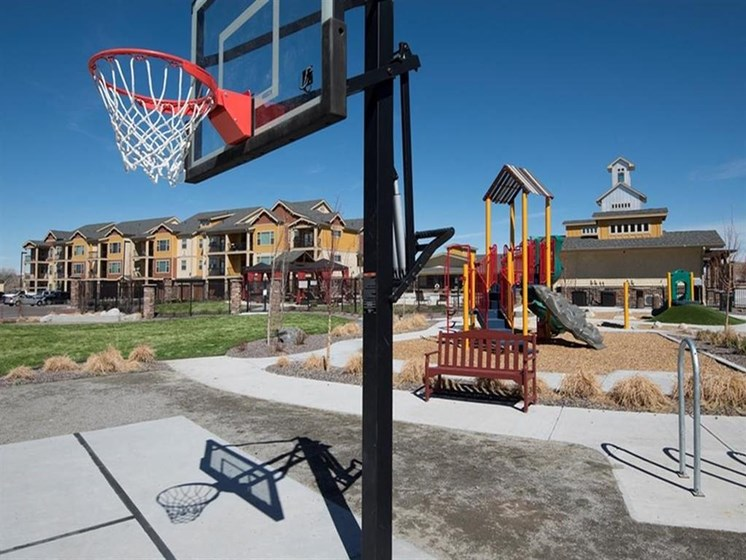 basketball hoop and playground