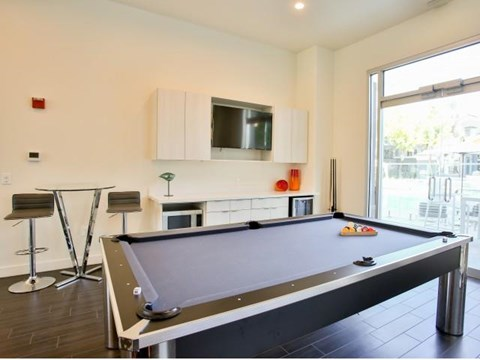 The Highland Apartments Clubhouse pool table