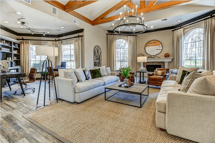Newly renovated resident clubhouse with lounge seating and business center