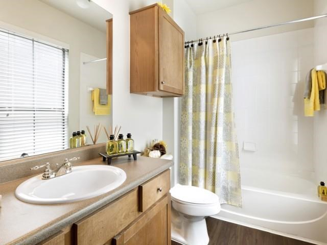 Bathroom with wood-style flooring and soaking tub/shower