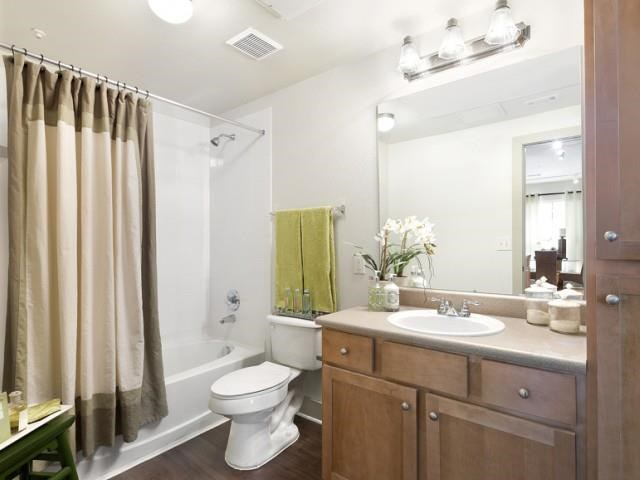 Bathroom with framed mirror, wood-style flooring, and soaking tub/shower