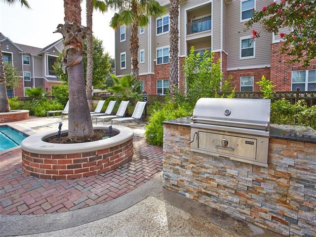Poolside grill with built-in countertop