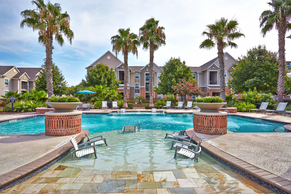 Pool with poolside seating