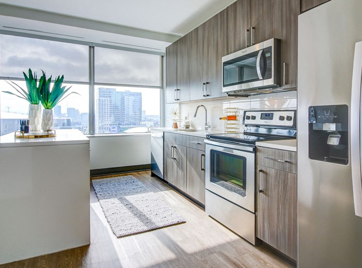 Downtown Kansas City Apartments-The Grand Apartments Kitchen With Full Set Of Stainless Appliances And Wood-Style Flooring