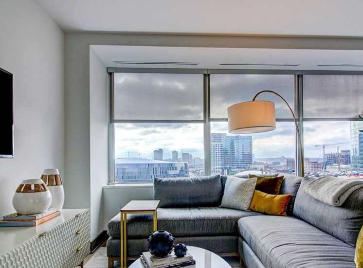 Downtown Kansas City Apartments - The Grand Modern, Cozy Living Room With Views Overlooking the City