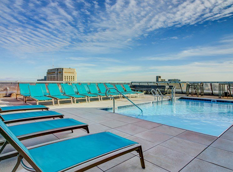 Kansas City MO Apartments for Rent-The Grand Apartments Rooftop Pool With Lounge Chairs And 360 View Of City