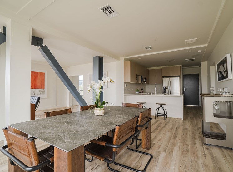 furnished apartment dining room and kitchen