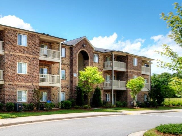 Apartment Complex Exterior With Beautiful Brick Construction at Hayleigh Village Apartments, North Carolina, 27410