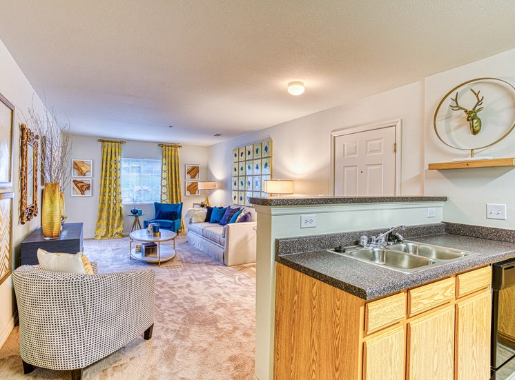 Kitchen and Living Room  at Alaris Village Apartments, Winston-Salem, NC