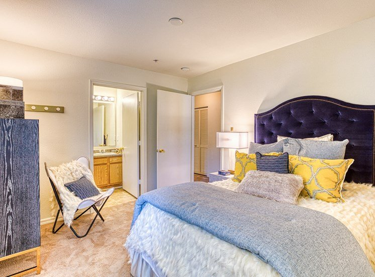 2nd Bedroom with large bed in apartment unit  at Alaris Village Apartments, Winston-Salem, NC