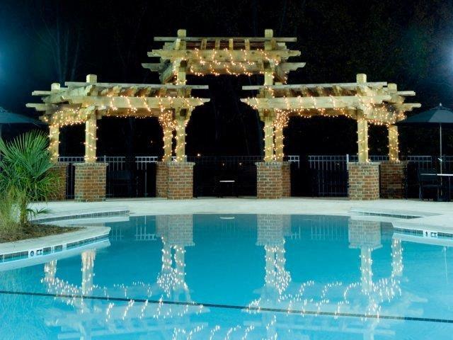 Sparkling Pool at Night at Alaris Village Apartments, Winston-Salem