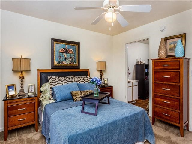 Master Bedroom With Linen Closet Space at Featherstone Village Apartments, Durham, North Carolina