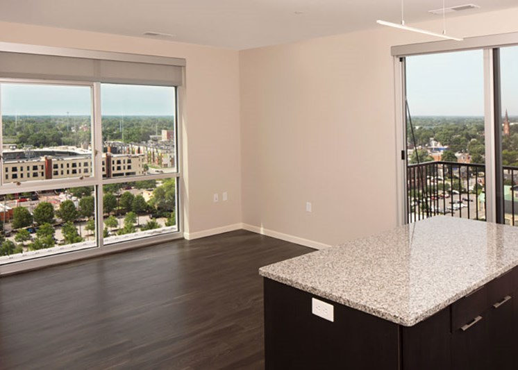 Apartment unit with views of Downtown Fort Wayne at Skyline Tower Apartments, Fort Wayne
