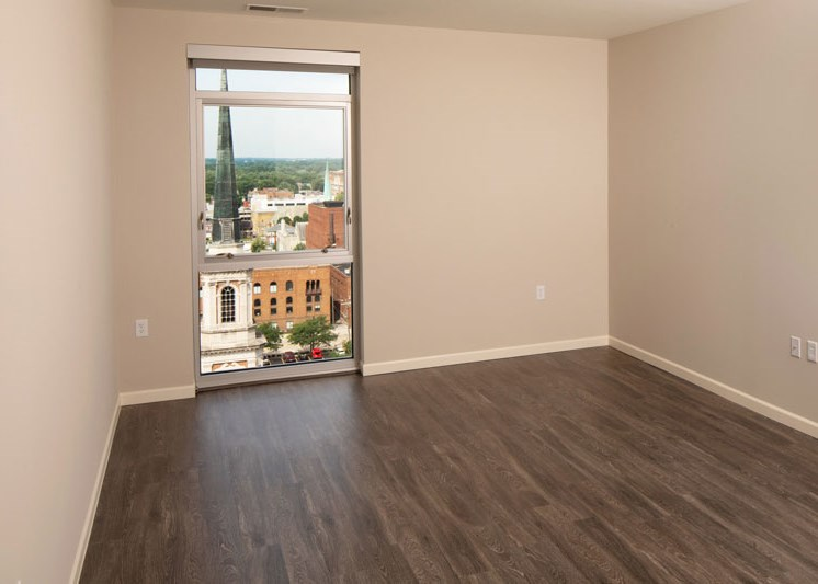 Apartment unit room with views of Downtown Fort Wayne at Skyline Tower Apartments, Fort Wayne, IN