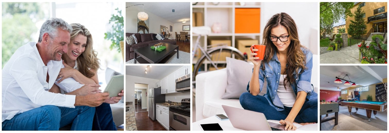 Collage of interior, exterior, and lifestyle images at Lamplighter in Langley, BC