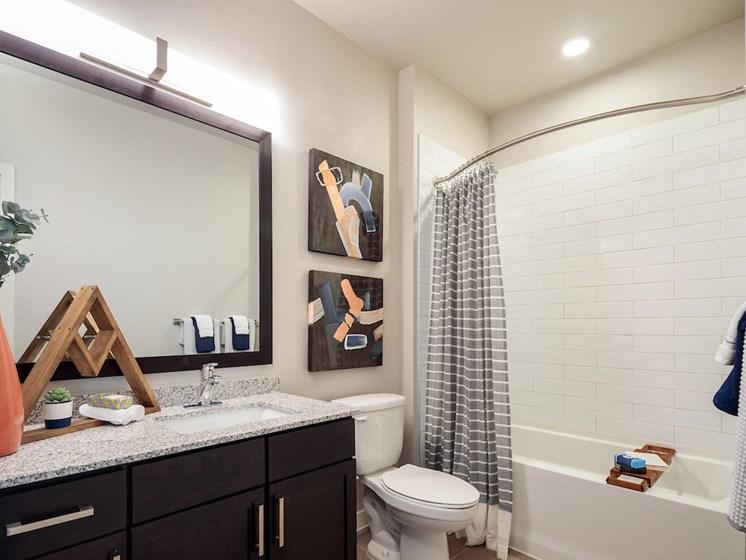 Light gray tile shower at Viridian, San Antonio,Texas