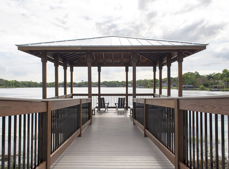 Seating area by lake
