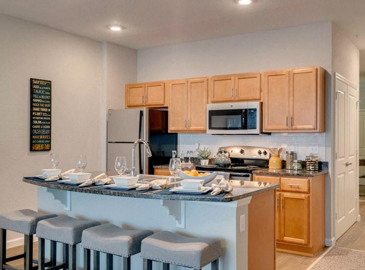 Lake view single suite kitchen