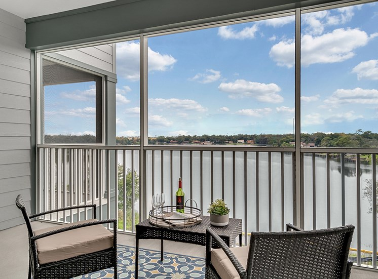 Lake view single suite living room
