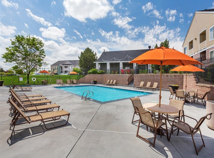 Saltwater Pool, Spa, And Sundeck With Cabanas at Village at Westmeadow Apartments, Colorado, 80906