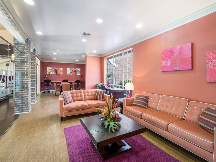 peach sofas in our lounge