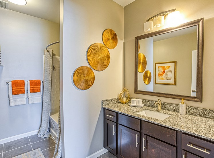 bathroom view with granite counters at Ascot Point Village Apartments, Asheville, NC, 28803