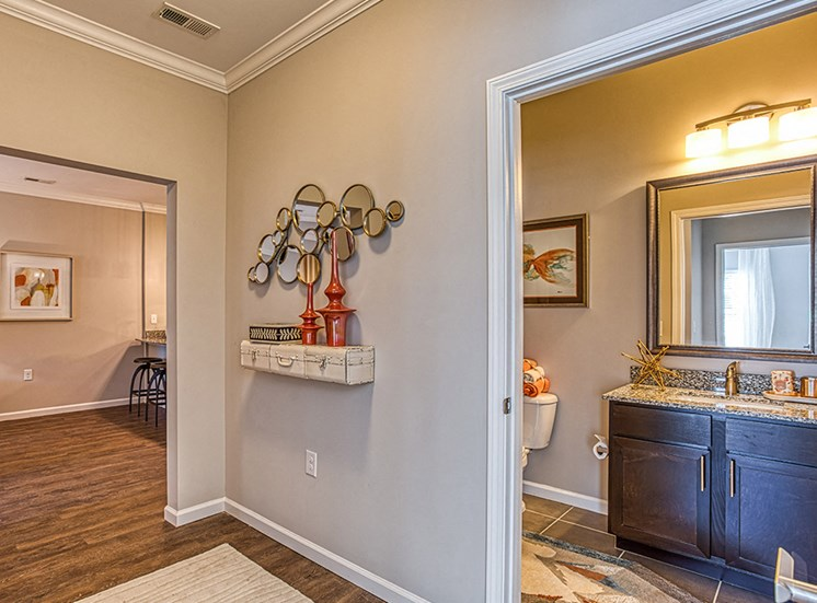 bathroom with granite counters and ample space at Ascot Point Village Apartments, Asheville, 28803