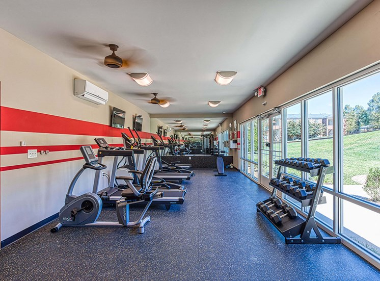 gym area with exercise equipment at Ascot Point Village Apartments, Asheville