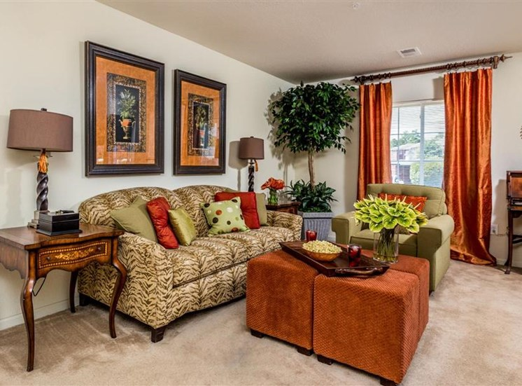 Carpeted Living Room Interiors at Hidden Creek Village Apartments, Fayetteville, 28314