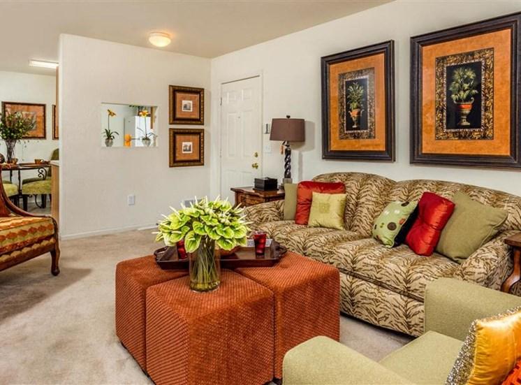 Living Room Contemporary Design at Hidden Creek Village Apartments, Fayetteville, North Carolina